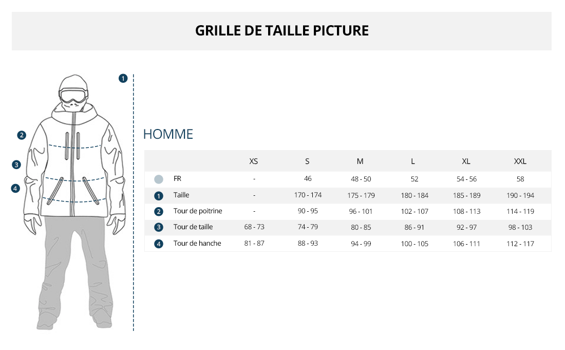 Grille de taille Picture Homme